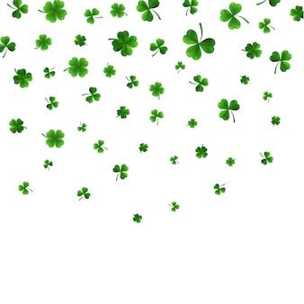 녹색 4와 나무 잎 클로버 흰색 절연