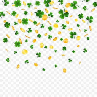 Green four and tree leaf clovers and gold coins