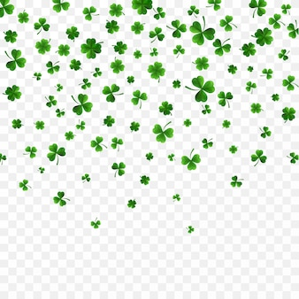 Green four and tree leaf clovers on transparent background