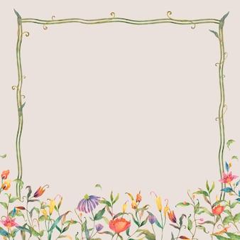 Зеленая рамка вектор с акварельными цветами на бежевом фоне