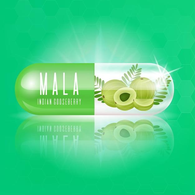Капсула с витамином из индийского крыжовника green fresh с кусочками и листьями мала Premium векторы