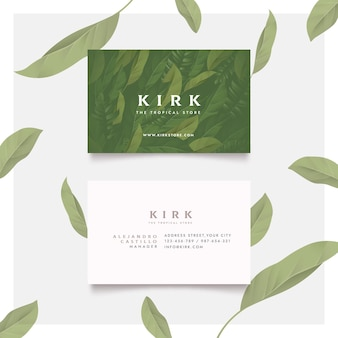 Green fresh leaves business cards template