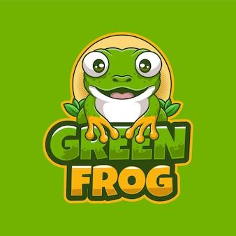 Зеленая лягушка мультфильм талисман креативный дизайн логотипа