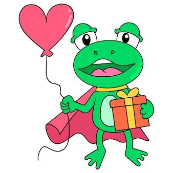 Зеленая лягушка одевается, супергерой приносит воздушные шары и подарки на день рождения, векторные иллюстрации. каракули изображение значка каваи.