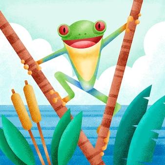 自然の生息地に描かれた緑のカエル