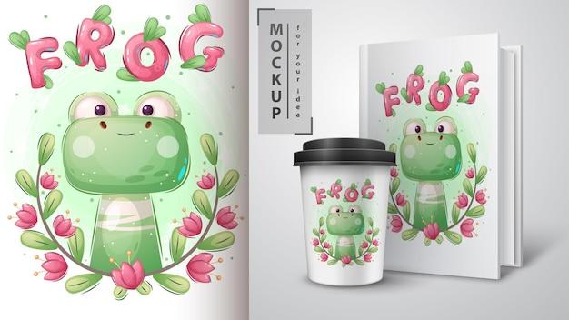 緑のカエルのポスターとマーチャンダイジング。ベクターeps10