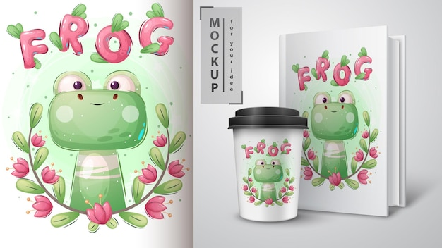 Green frog poster and merchandising. vector eps 10