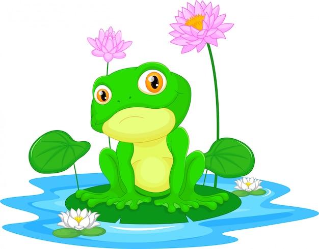 葉に座っている緑のカエル
