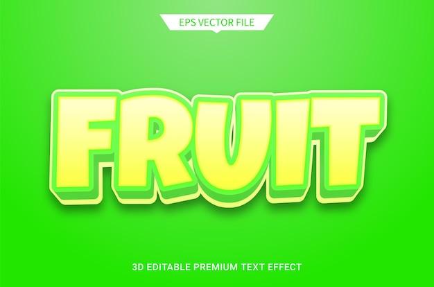 緑の果実3d編集可能なテキストスタイル効果プレミアムベクトル