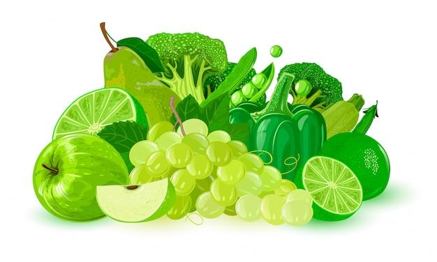 緑の果物と野菜。