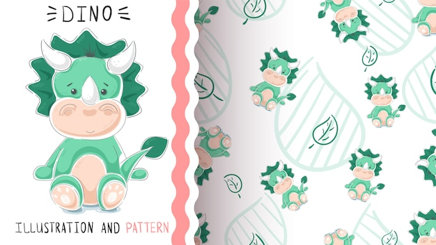 Green funny dino seamless pattern