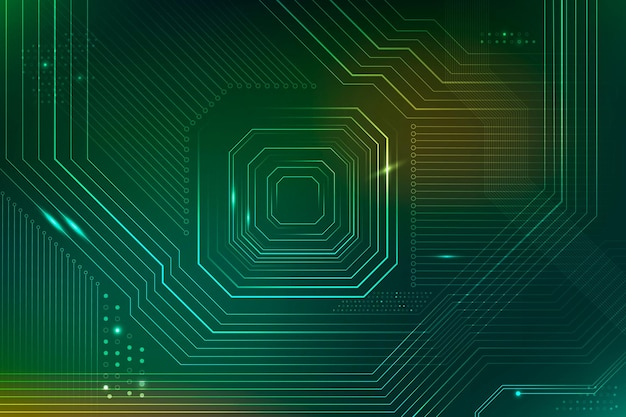 Green futuristic microchip background vector data digital transformation