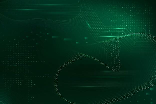 Fondo futuristico verde delle onde con la tecnologia di codice del computer