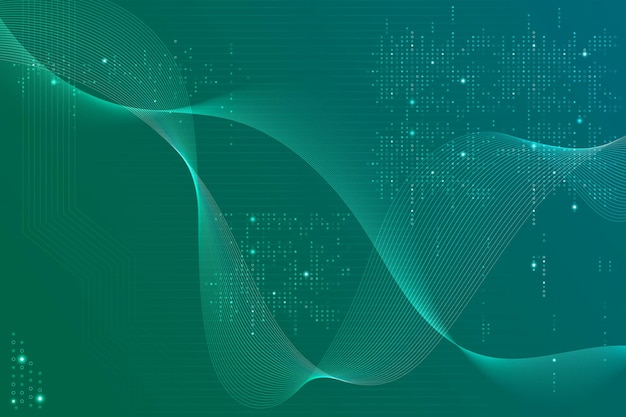 Зеленый футуристический фон волны с технологией компьютерного кода