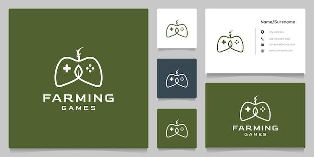 Зеленый геймпад fresh leaf nature logo design со стилем линии