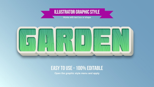 Green garden 3d bold cartoon editable text effect