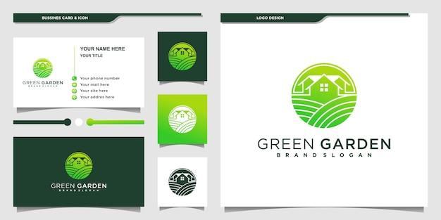 녹색 그라데이션 네거티페 공간 개념이 있는 녹색 정원 집 로고 premium vektor