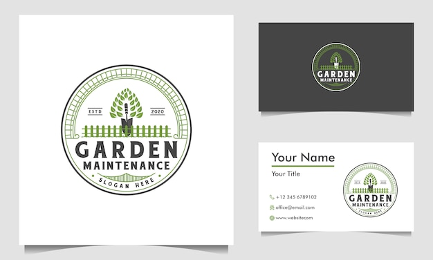 Green garden logo design template and business card