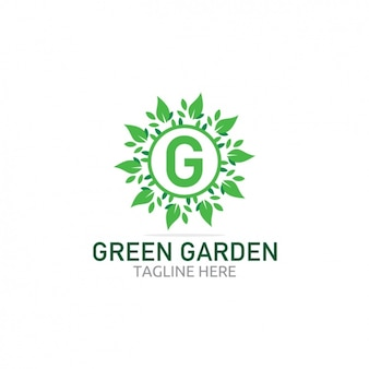 Green garden logo with leaves