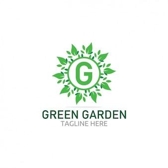 葉緑豊かな庭園のロゴ