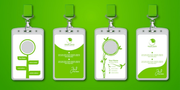 녹색 원예 id 카드 디자인