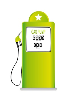 Green gas pump isolated