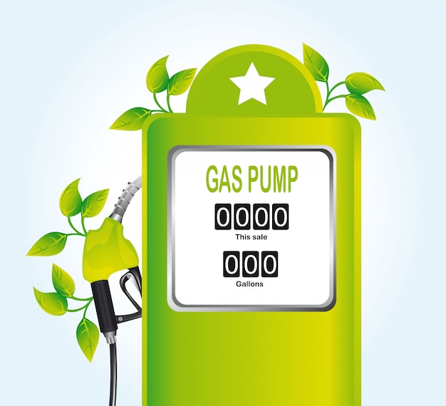 Green gas pump with leaves over blue background vector