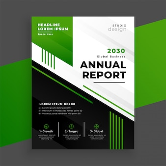 Green geometric annual report template for your business