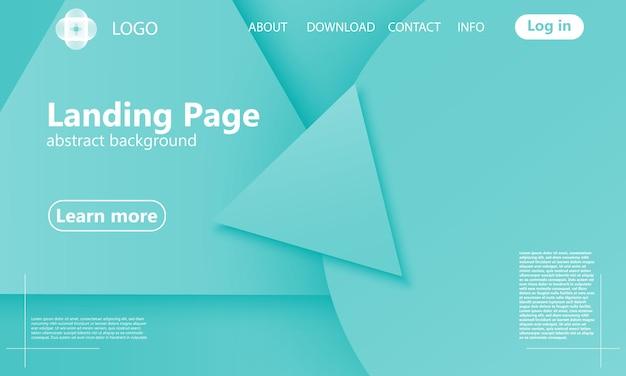 緑の幾何学的なランディングページ。