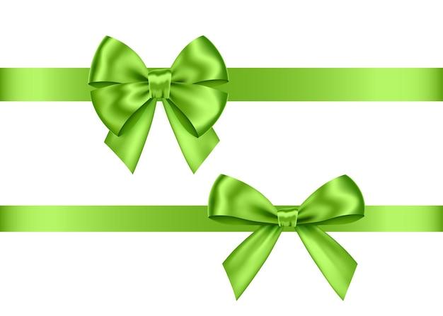 흰색 배경에 고립 된 녹색 선물 활 세트 크리스마스 새 해 생일 장식