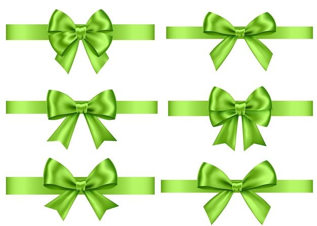 녹색 선물 리본 세트 흰색 배경에 고립