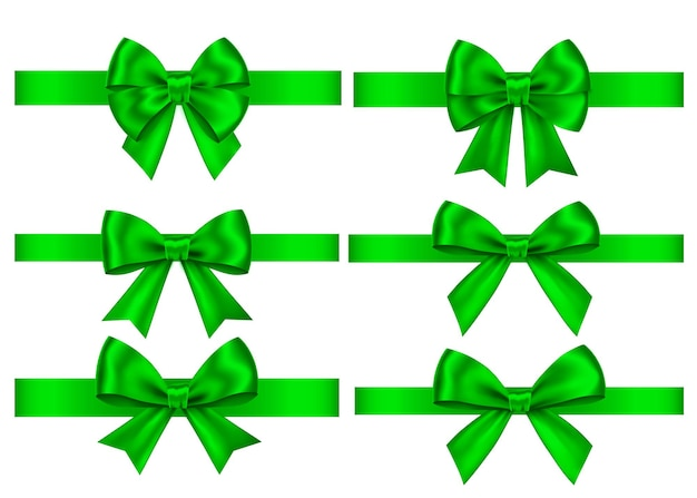 Green  gift  bows set  isolated on white background. christmas, new year, birthday  decoration. vector realistic decor element  for banner, greeting card, poster.