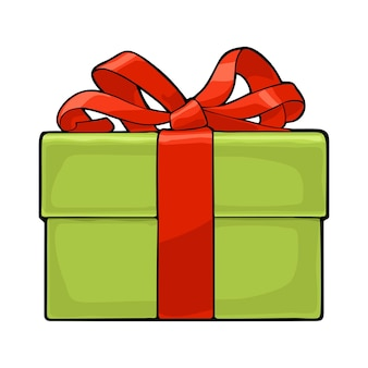 赤いリボンとリボンが付いた緑のギフトボックス。メリークリスマスと新年あけましておめでとうございますのポスターまたはグリーティングカード用。白い背景で隔離。ベクトルフラットカラーイラスト。