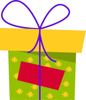 A green gift box with a yellow flower with a bow for all holidays
