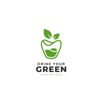 テンプレートの下にテキストと上部のロゴにジュースとリンゴの葉と緑のガラス
