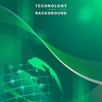 Green globe futuristic technology background vector
