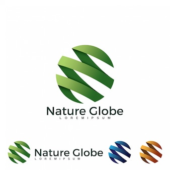 Green globe logo design
