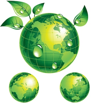 Green globe with green leaves eps8 cmyk organized by layers global colors gradients used