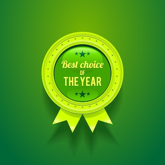 Green  glossy badge with choice of the year.