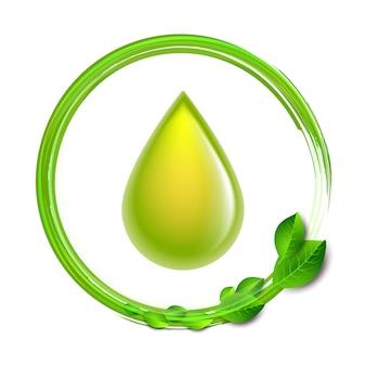 Зеленая глянцевая капля с зелеными листьями на белом фоне, среда концептуальная