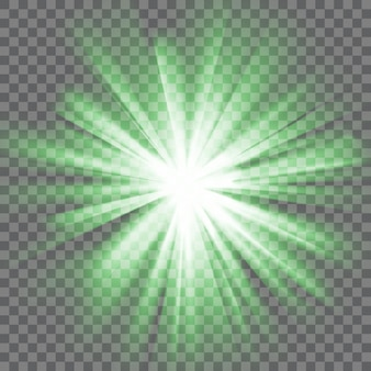 Green glowing light. bright shining star. bursting explosion. transparent background. rays of light. glaring effect with transparency. abstract glowing light background. vector illustration.