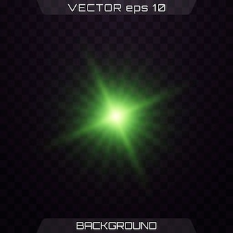 녹색 빛나는 빛. 렌즈 플레어.