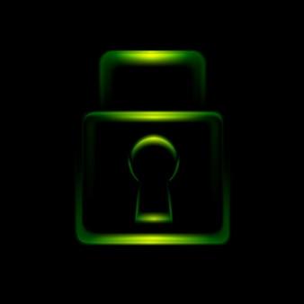 Зеленый светящийся значок символа замка. векторный дизайн