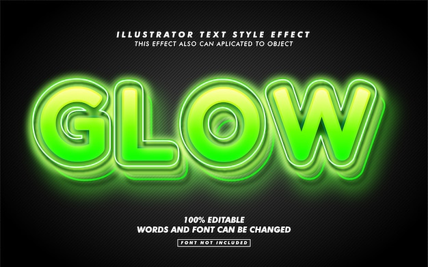 Green glowing text style effect mockup