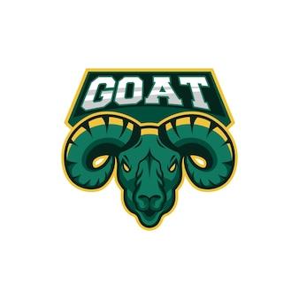 Green goat head vector illustration esport mascot logo