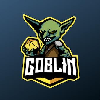 Зеленый талисман гоблинов для спорта и киберспорта логотип, изолированных на темном фоне