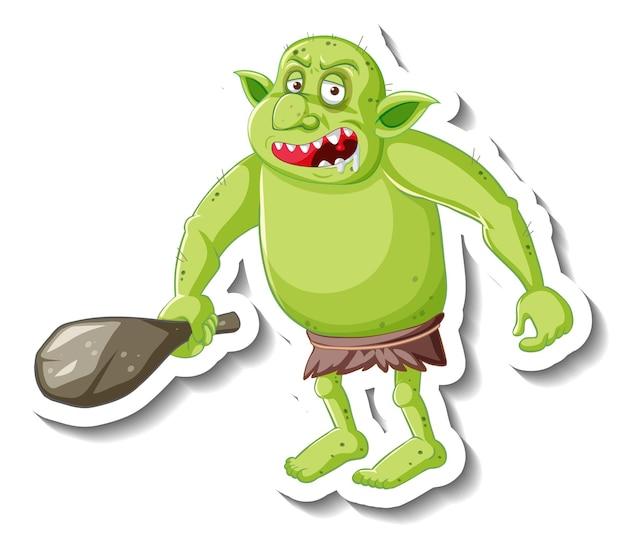Adesivo personaggio dei cartoni animati di goblin verde o troll