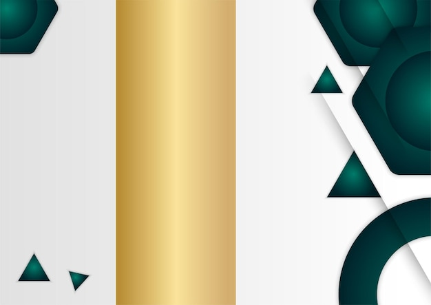 Green gold abstract geometric shapes on silver background. suitable for presentation background, banner, web landing page, ui, mobile app, editorial design, flyer, banner, and other related occasion
