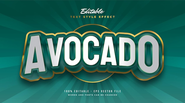 Green and gold avocado text style with 3d and embossed effect. editable text style effect