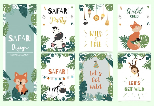 Green,gold collection of safari background set